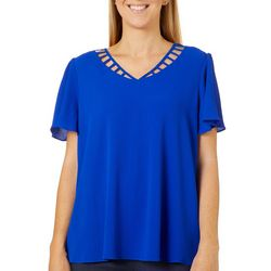 Sami & Jo Womens Solid Caged Neckline Short Sleeve Top