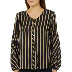 Sami & Jo Womens Striped Bubble Sleeve Button Down Top