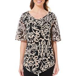 Sami & Jo Womens Puff Print Sheer Sleeve Top