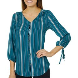 Sami & Jo Womens Striped Tie Sleeve Button Down Top