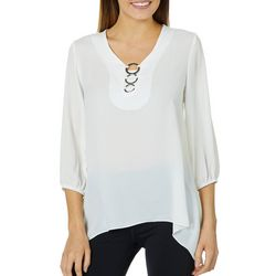 Sami & Jo Womens Ring Neck Sharkbite Hem Top