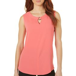 Sami & Jo Womens Ring Accent Notch Neck Tank Top