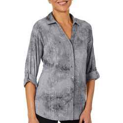 Sami & Jo Womens Sequin Fiesta Collared Roll Tab Top