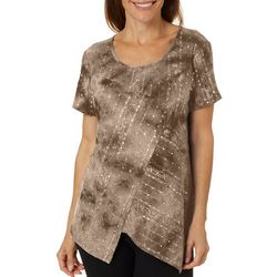Sami & Jo Womens Surplice Hem Sequin Fiesta Top