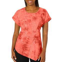 Sami & Jo Womens Asymmetrical Hem Sequin Fiesta Top
