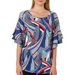 Sami & Jo Womens Abstract Puff Print Ruffle Sleeve Top