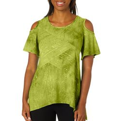 Sami & Jo Womens Cold Shoulder Sequin Sharkbite Fiesta Top