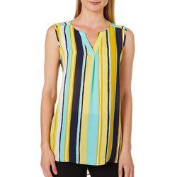 Sami & Jo Womens Striped High-Low Sleeveless Top