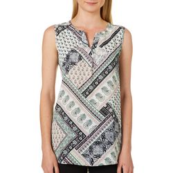 Sami & Jo Womens Floral Patchwork High-Low Sleeveless Top