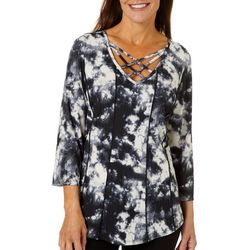 Sami & Jo Womens Tie Dye Ring Detail V-Neck Top