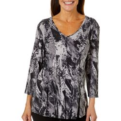 Sami & Jo Womens Fit & Flare Marble Print Top