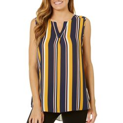Sami & Jo Womens Striped High-Low Sleeveless Top