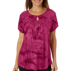 Sami & Jo Womens Embellished Fiesta Ruched Side Tie Top