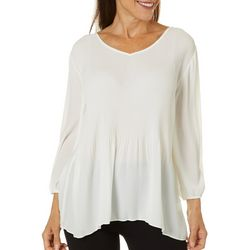 Sami & Jo Womens Solid Pleated V-Neck Top
