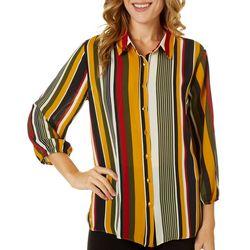 Sami & Jo Womens Mixed Stripe Print Button Down Top