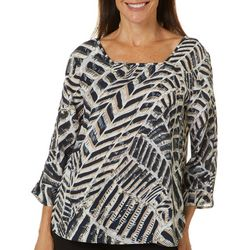 Sami & Jo Womens Graphic Chevron Print Square Neck Top