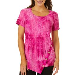 Sami & Jo Womens Sequin Fiesta Button Accent Top
