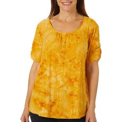 Sami & Jo Womens Embellished Fiesta Faux Button Top
