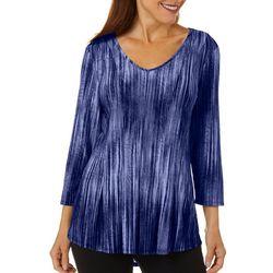 Sami & Jo Womens Fit & Flare Textured Stripe Print Top