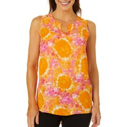 Sami & Jo Womens Tie Dye Print High-Low Sleeveless Top