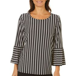 Tacera Womens Striped Bell Sleeve Top