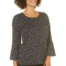Tacera Womens Polka Dot Bell Sleeve Top