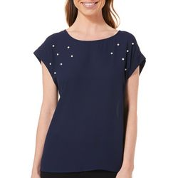 Tacera Womens Pearl Embellished Cap Sleeve Top
