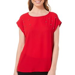 Tacera Womens Metal Embellished Cap Sleeve Top