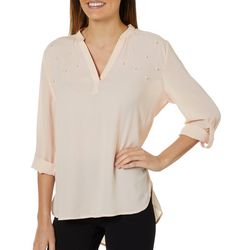 Tacera Womens Pearl Embellished Roll Tab Top
