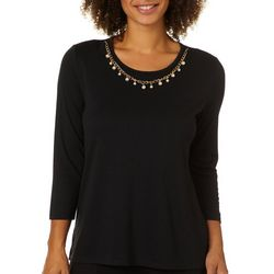 Zoe +  Phoebe Womens Necklace & Solid Scoop Neck Top