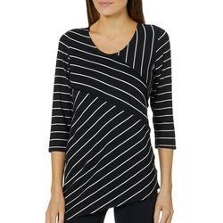 Zoe + Phoebe Womens Striped Asymmetrical Top