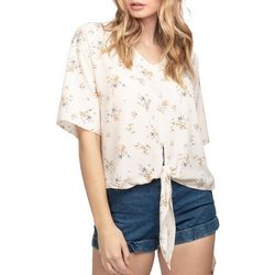 Everly Womens Floral Tie Front Short Sleeve Top