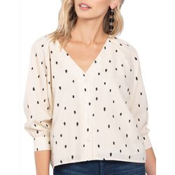 Everly Womens Button Down Polka Dot Top