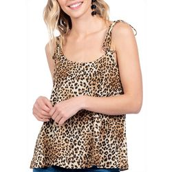 Everly Womens Leopard Print Tie Strap Tank Top