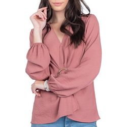 Everly Womens Solid Ring Detail Long Sleeve Top