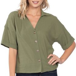 Everly Womens Solid Button Down Short Sleeve Top