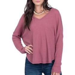 Everly Womens Solid Waffle Knit Long Sleeve Top