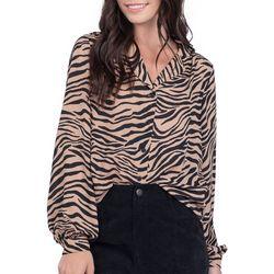Everly Womens Zebra Print Button Down Long Sleeve Top