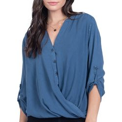 Everly Womens Solid Faux Button Down Roll Tab Sleeve Top
