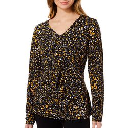 Adrienne Vittadini Womens Dotted Twist Front Long Sleeve Top