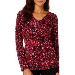 Adrienne Vittadini Womens Floral Twist Front Long Sleeve