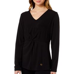 Adrienne Vittadini Womens Solid Twist Front Long Sleeve