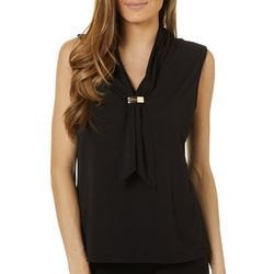 Adrienne Vittadini Womens Solid V-Neck Sleeveless Top