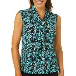 Adrienne Vittadini Womens Floral V-Neck Sleeveless Top