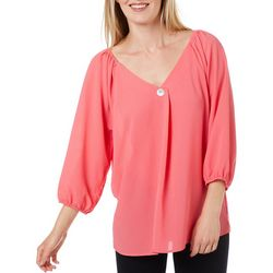 Adrienne Vittadini Womens Solid V-Neck Button Detail Top