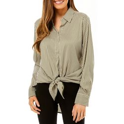Philosophy Womens Vertical Striped Button Down Top