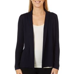Premise Womens Solid Open Front Ribbed Cardigan