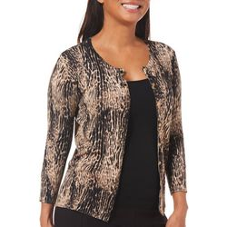Premise Womens Cropped Leopard Print Cardigan