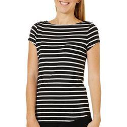 Premise Womens Stripe Cap Sleeve Top