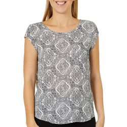 Philosophy Womens Medallion Print Key Hole Back Top